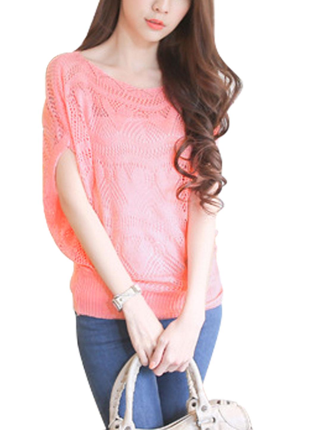 Ladies Scoop Neck Short Raglan Sleeve Knitting Top Pink S