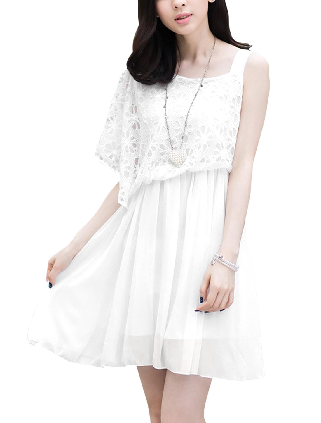 Ladies Asymmetrical Necline Lining Elastic Waist Chiffon Dress White XS