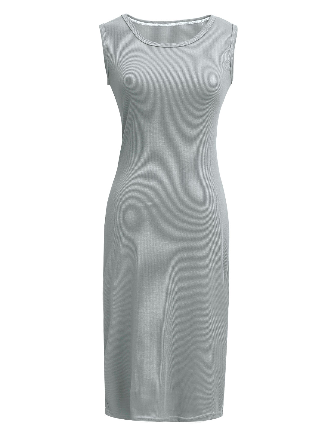 Women Round Neck Sleeveless Ribbed Summer Knitting Dress Gary XS