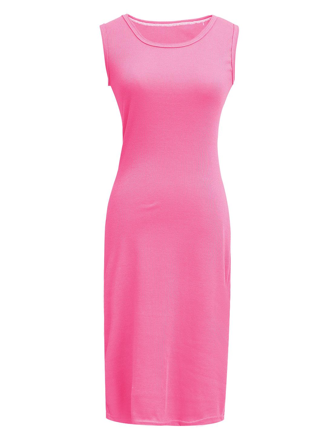 Women NEW Style Sleeveless Elastic Knitted Dress Hot Pink XS