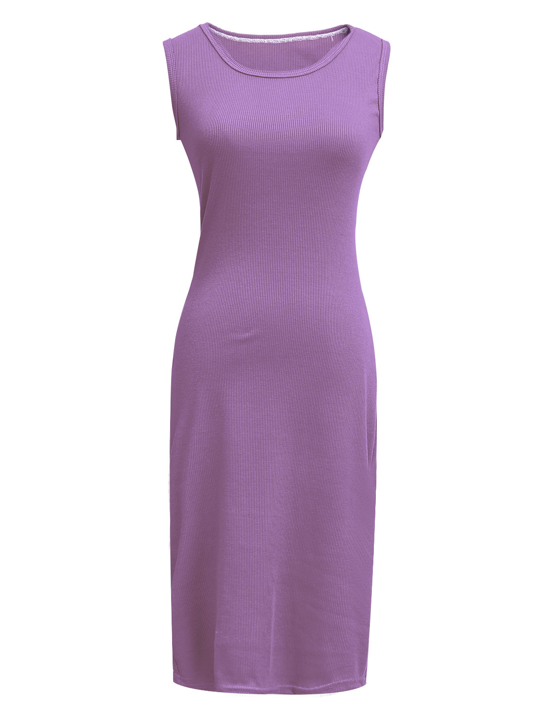 Woman Round Neck Design Stretchy Sheath Knitted Dress Purple XS