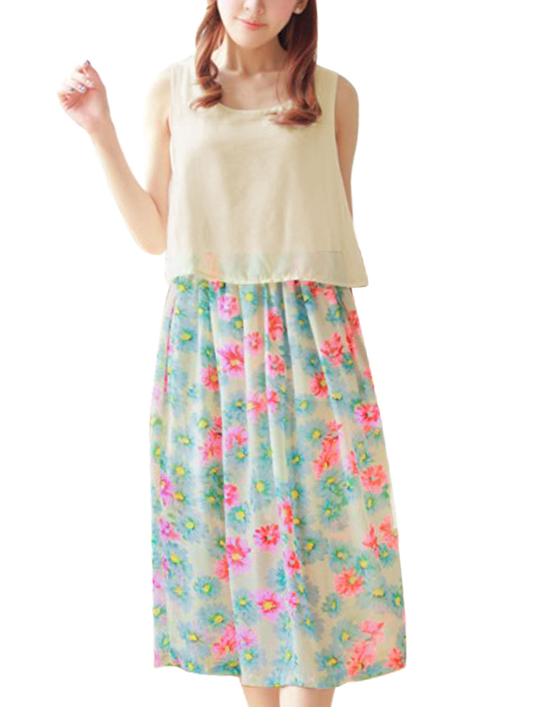 Woman Elastic Waist Floral Prints Mid-calf Dress Multicolor S