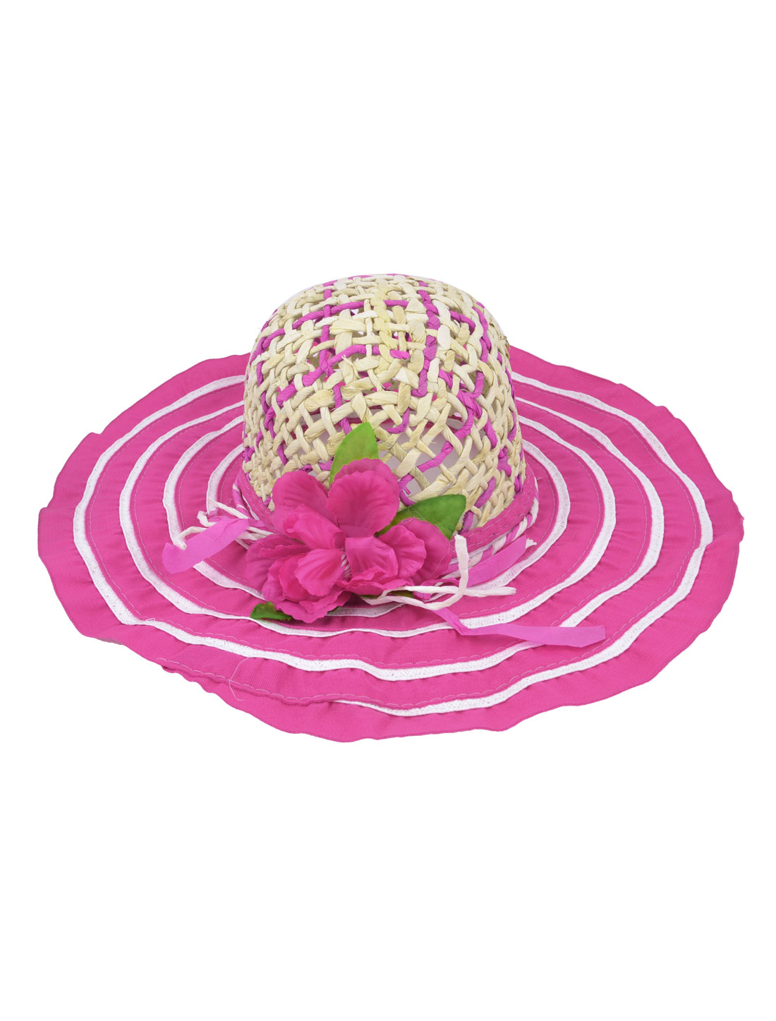Woman Elastic Band Fuchsia Wide Brim Meshy Bowknot Detail Summer Beach Leisure Straw Hat