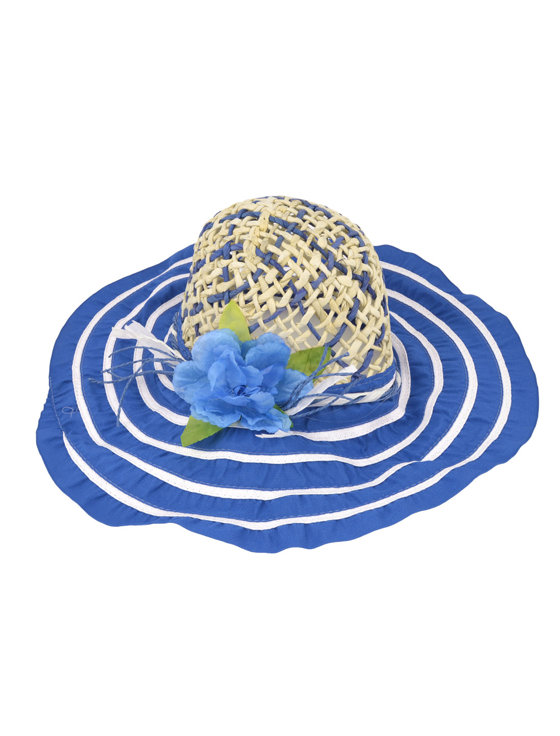 Woman Elastic Band Wide Brim Meshy 12cm Depth Flower Detail Summer Beach Leisure Hat Royal Blue