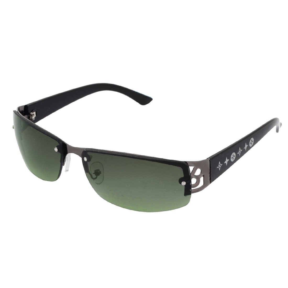 Men Women Single Bridge Green Lens Half Rimless Plastic Arms Travel Protective Eyeglasses Sunglasses