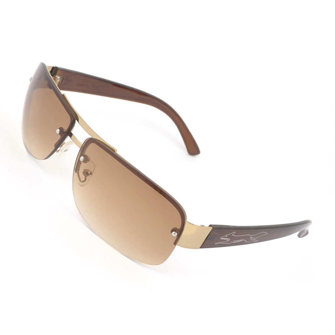 Men Women Brown Lens Plastic Arms Half Frame Double Bridge Travel Eyeglasses Sunglasses
