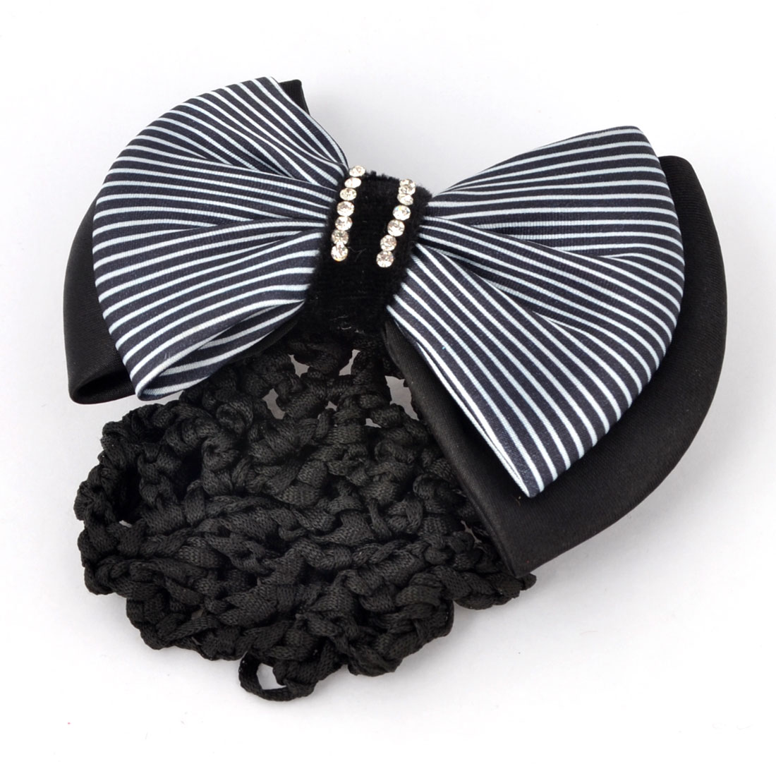 Black White Glitter Rhinestones Inlaid Striped Polyester Bowknot Decor Snood Net Barrette French Hair Clip Bun Cover for Ladies