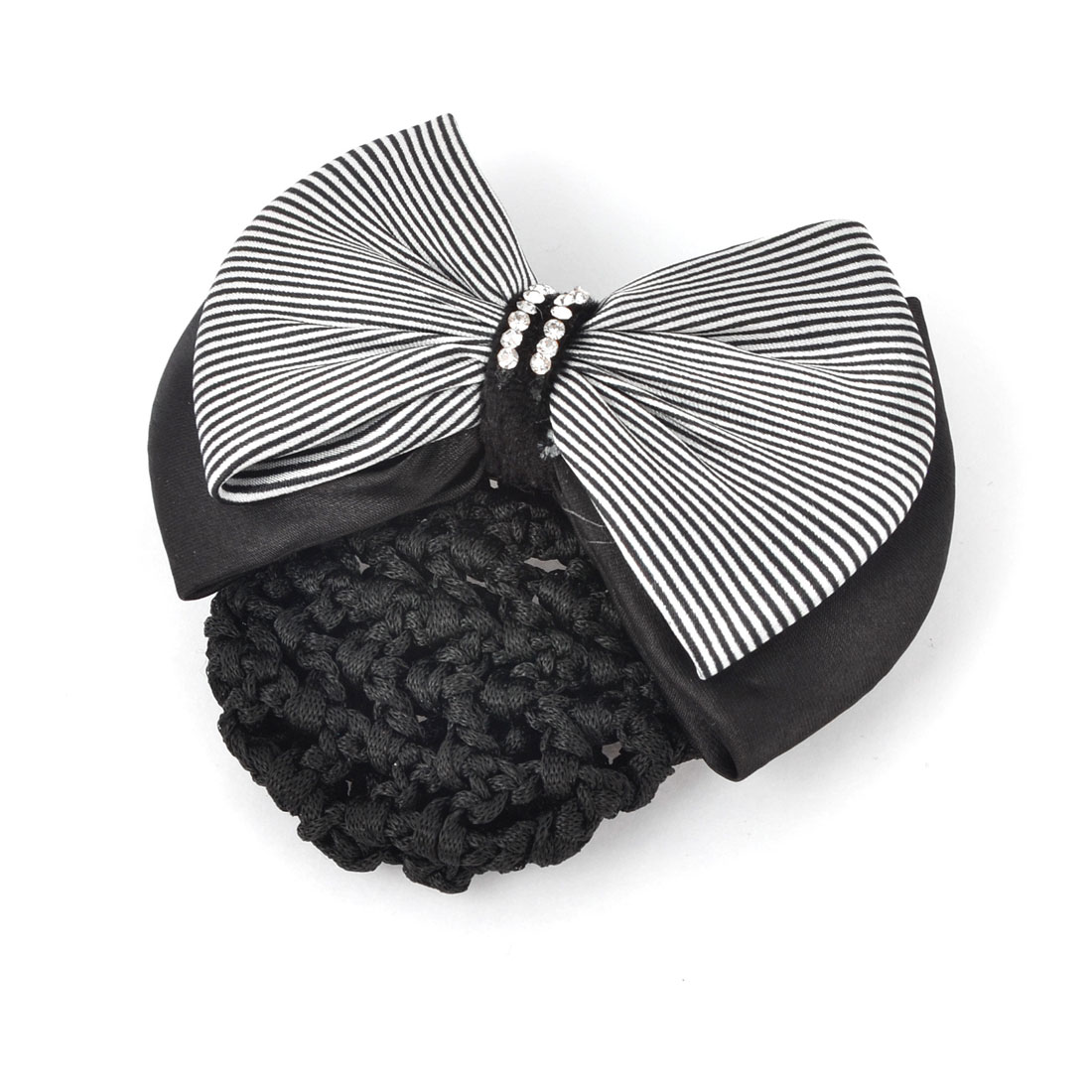 Black White Striped Polyester Bowknot Decor Glitter Rhinestones Inlaid Snood Net Barrette French Hair Clip Bun Cover for Ladies