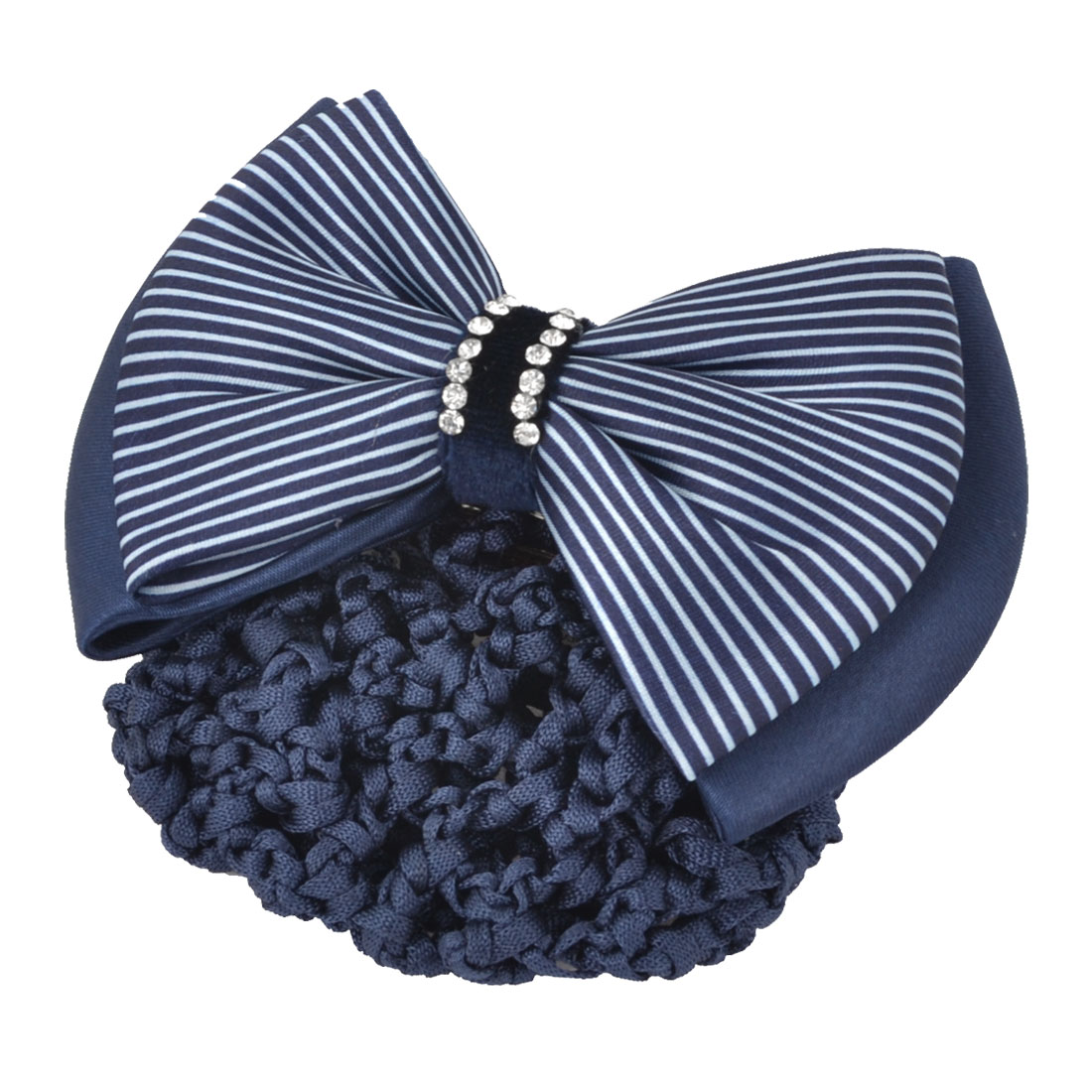 Ladies Glitter Rhinestones Inlaid Striped Polyester Bowknot Decor Hair Barrette Snood Bun Cover Net Blue White