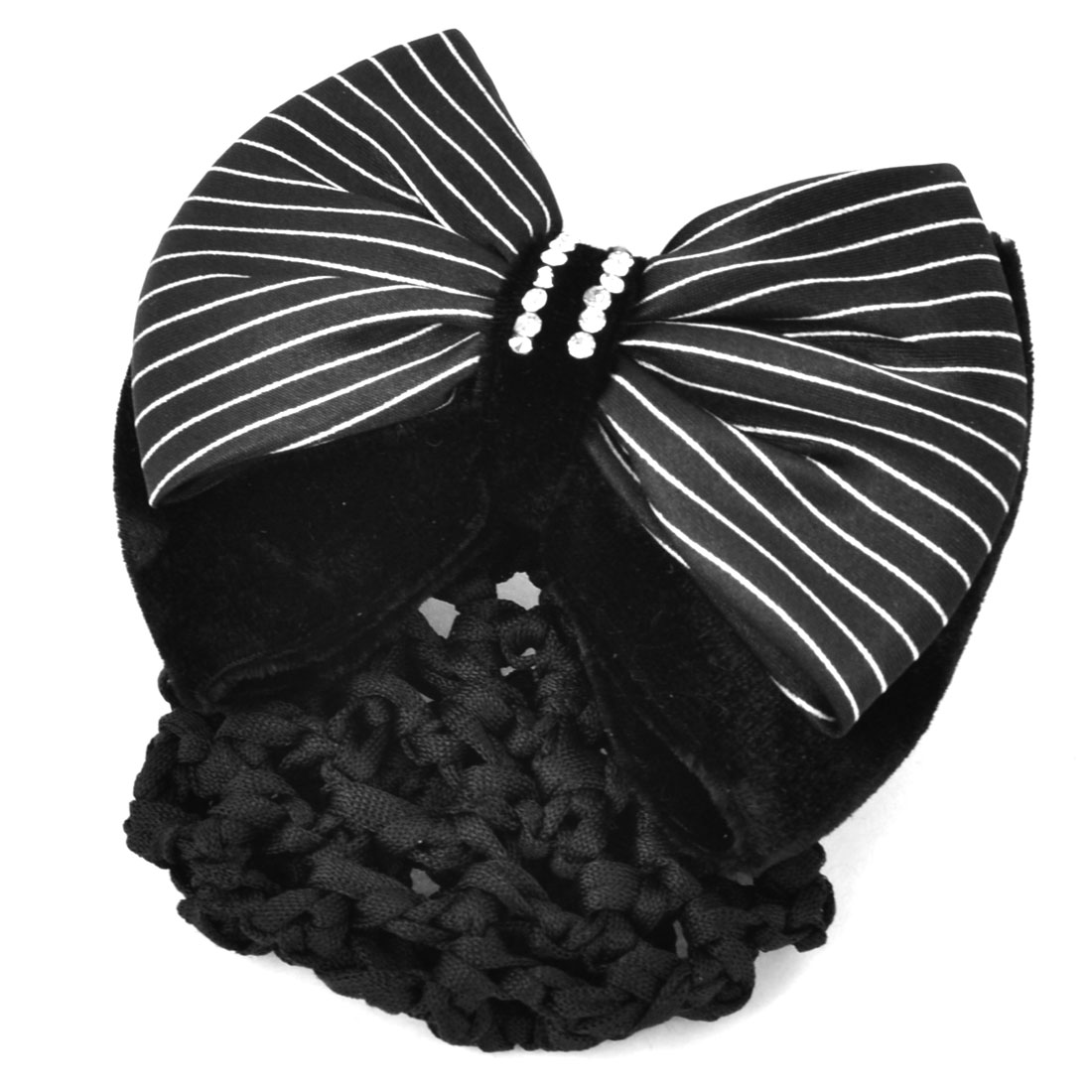 Glitter Rhinestones Inlaid Striped Polyester Bowknot Decor Snood Net Barrette French Hair Clip Bun Cover Black White for Ladies