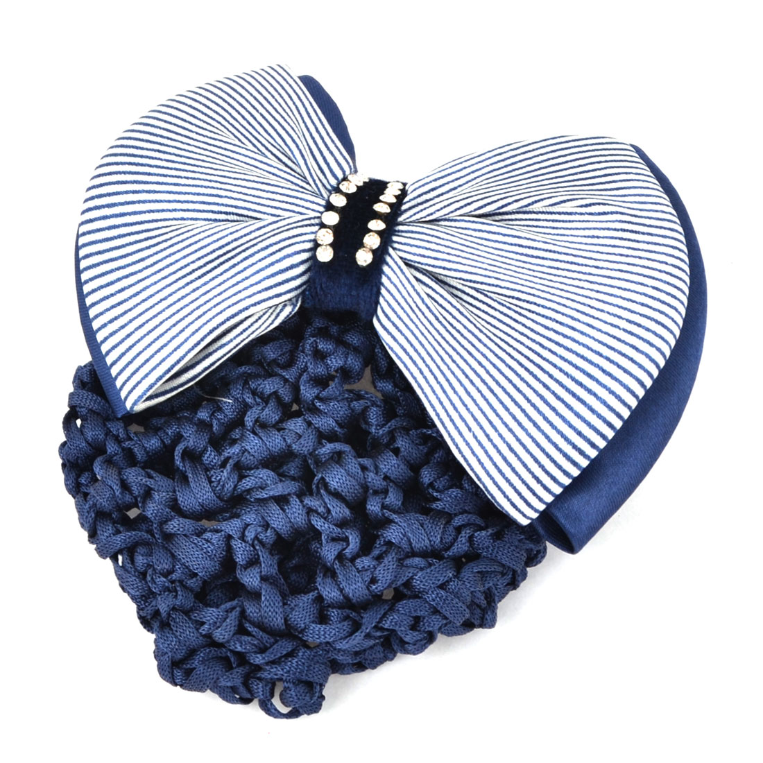 Sky Blue White Glitter Rhinestones Inlaid Striped Polyester Bowknot Decor Snood Net Barrette French Hair Clip Bun Cover for Ladies