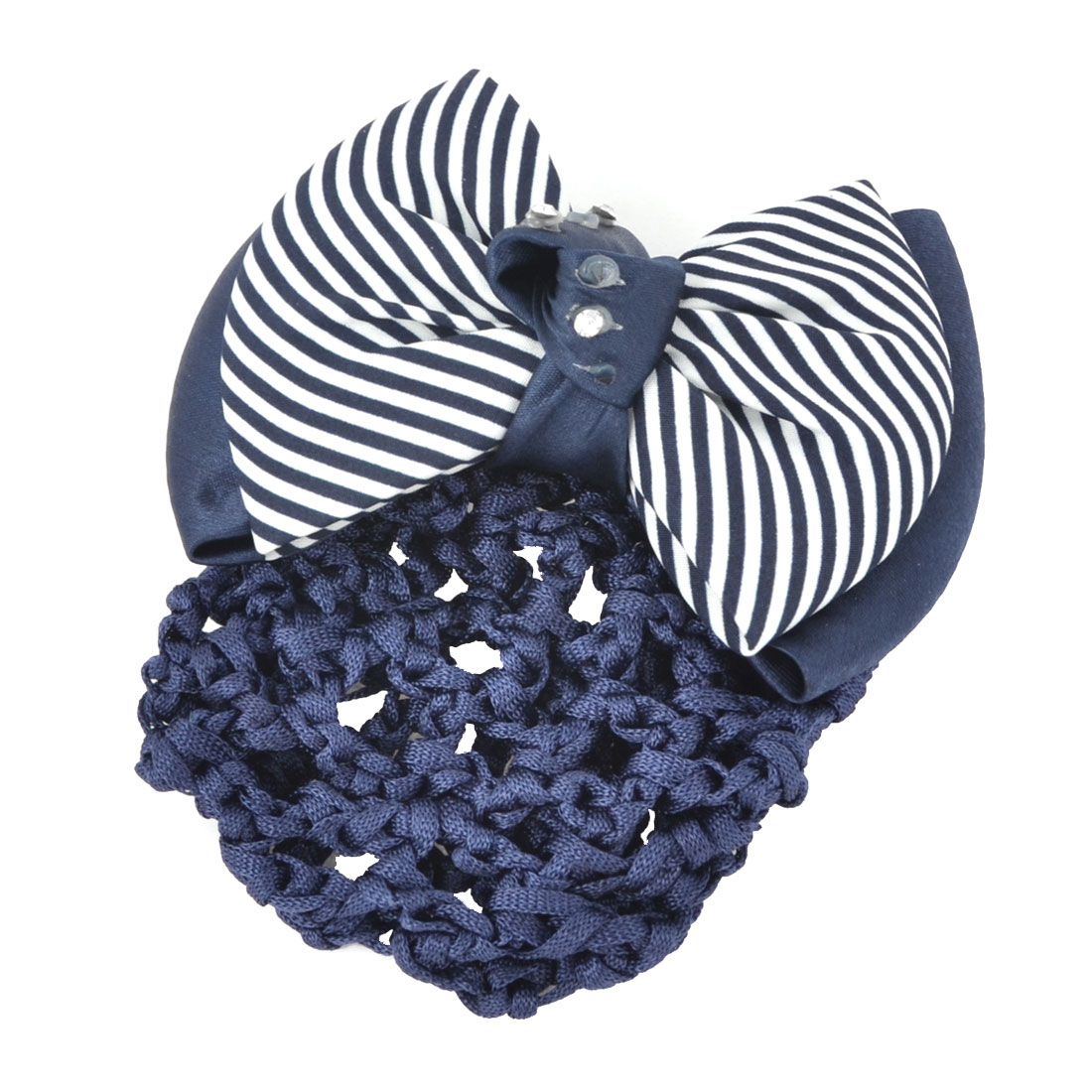 Blue White Glitter Rhinestones Inlaid Striped Polyester Bowknot Decor Snood Net Barrette French Hair Clip Bun Cover for Ladies