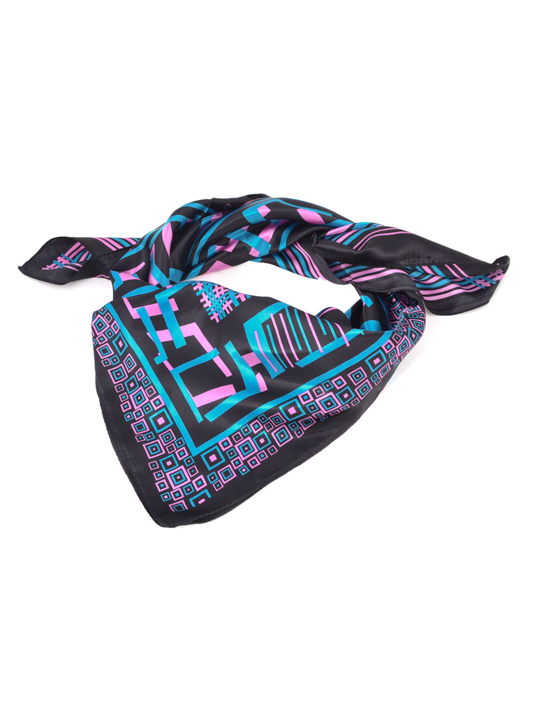 Lady Women Allover Geometric Pattern Polyester Teal Pink Black Square Soft Wrap Scarf Shawl