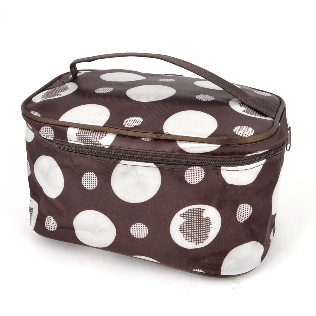 Lady Zipper Closure Dot Printed Cosmetic Bag Make Up Pouch Case Brown White