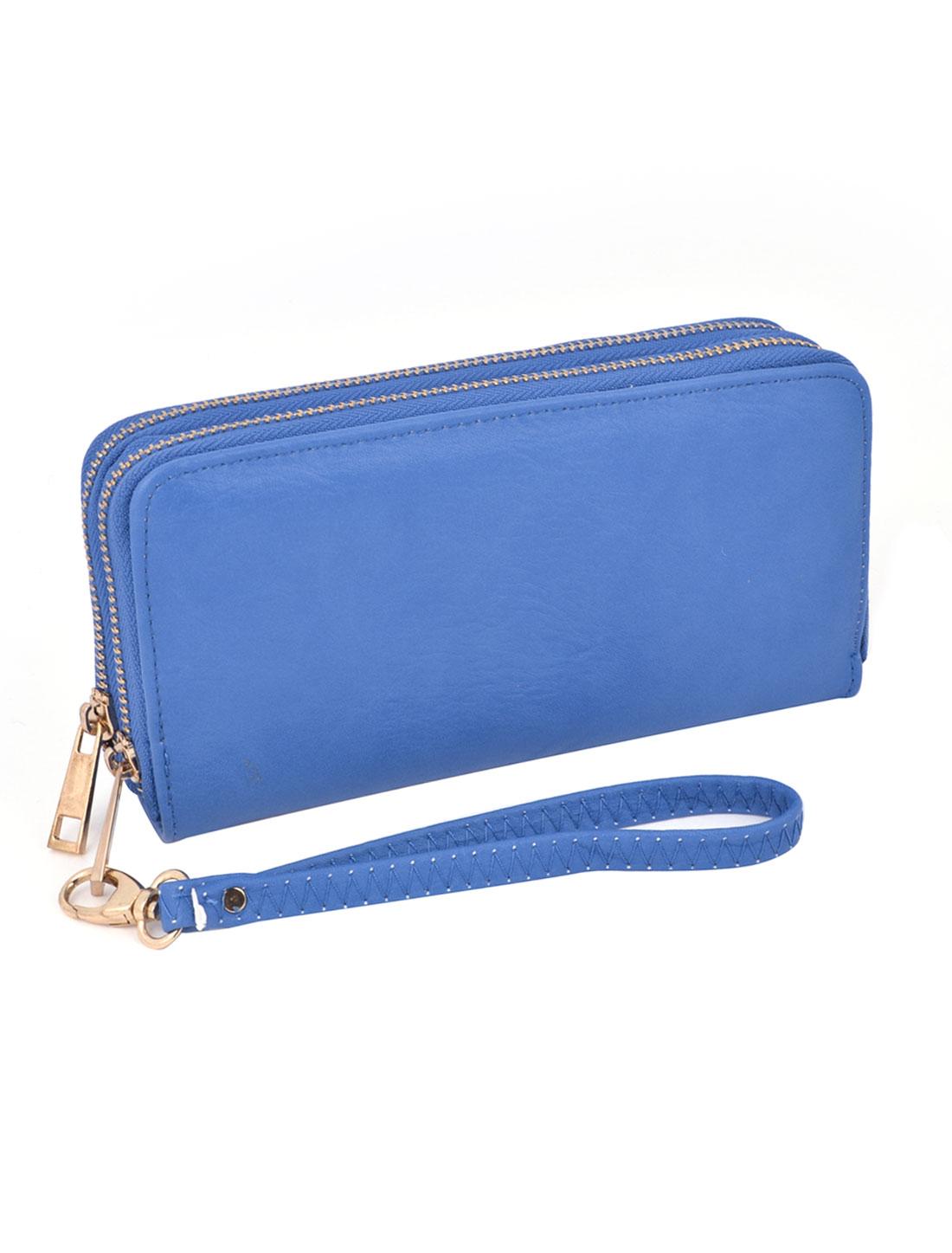 Ladies Double Zipper Colsure 6 Compartments Blue Faux Leather Money Change Bank Cards Organizer Wallet w Wrist Strap