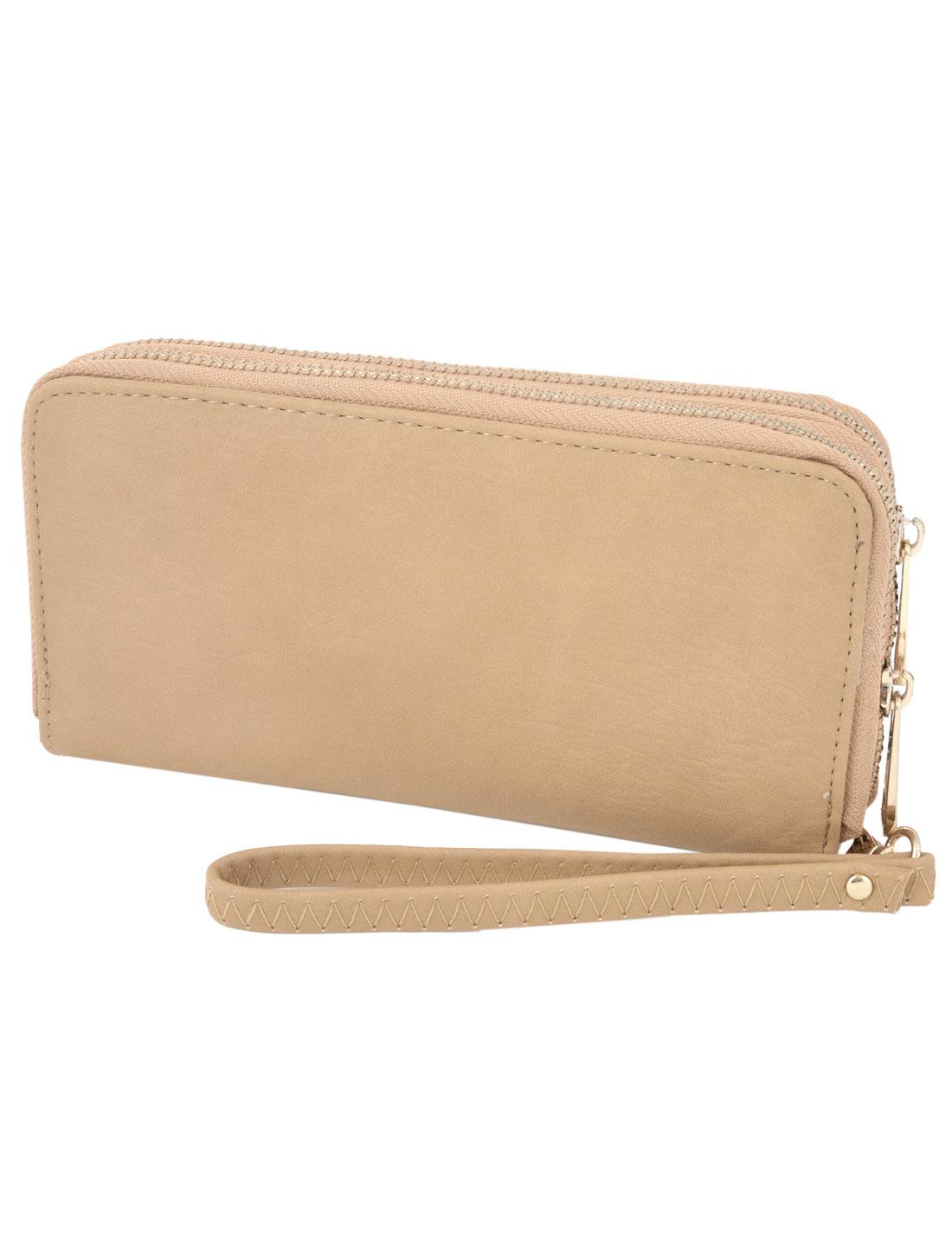 Ladies Zipper Closure Faux Leather 6 Compartments Khaki Money Change Bank Cards Wallet Holder w Wrist Strap