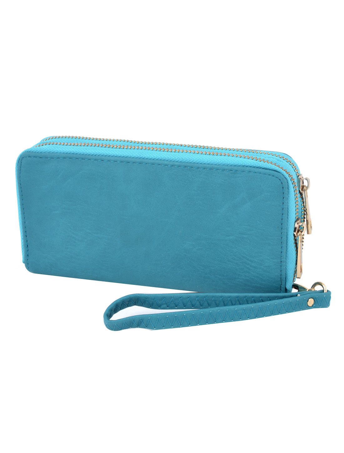 Women Zipper Closure 6 Compartment Faux Leather Phone ID Card Organizer Wallets Case Teal