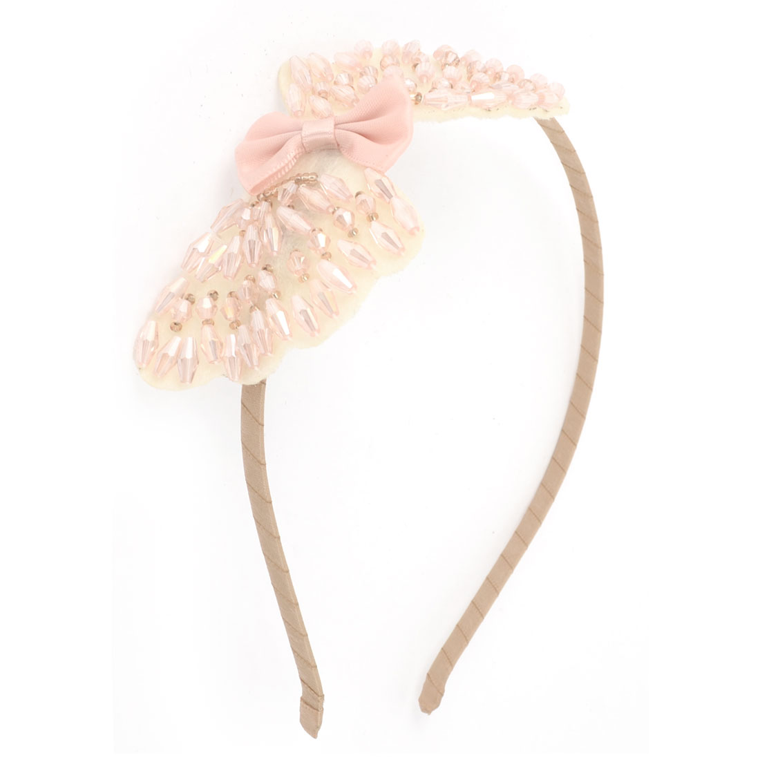Rhinestones Embellished Bowtie Decoration Slim Hair Hoop Headband Hairband Light Pink for Ladies