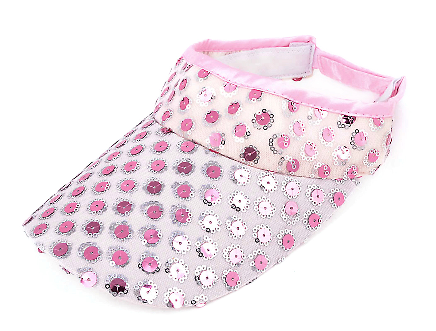 Women Adjustable 5.5cm Depth Bling Mini Circle Flower Sequin Ornament Sun Visor Cap Pink
