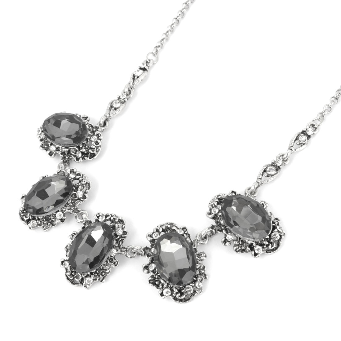 Women Banquet Retro Style Dark Gray Faux Crystal Embellished Slim Silver Tone Chain Necklace
