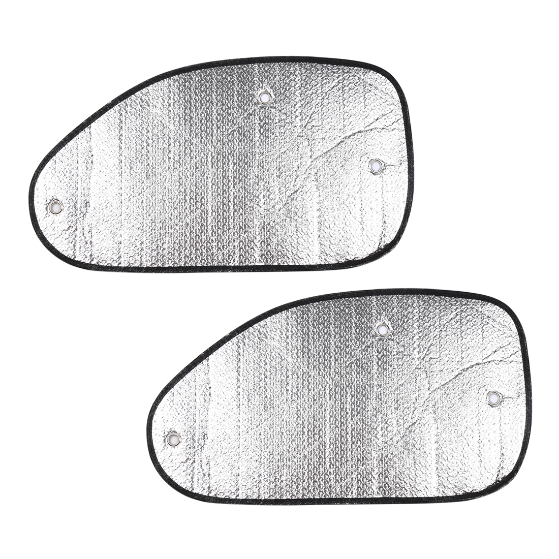2 Pcs Silver Tone Foldable Side Window Sunshades Sun Visor Shield 58 x 34cm