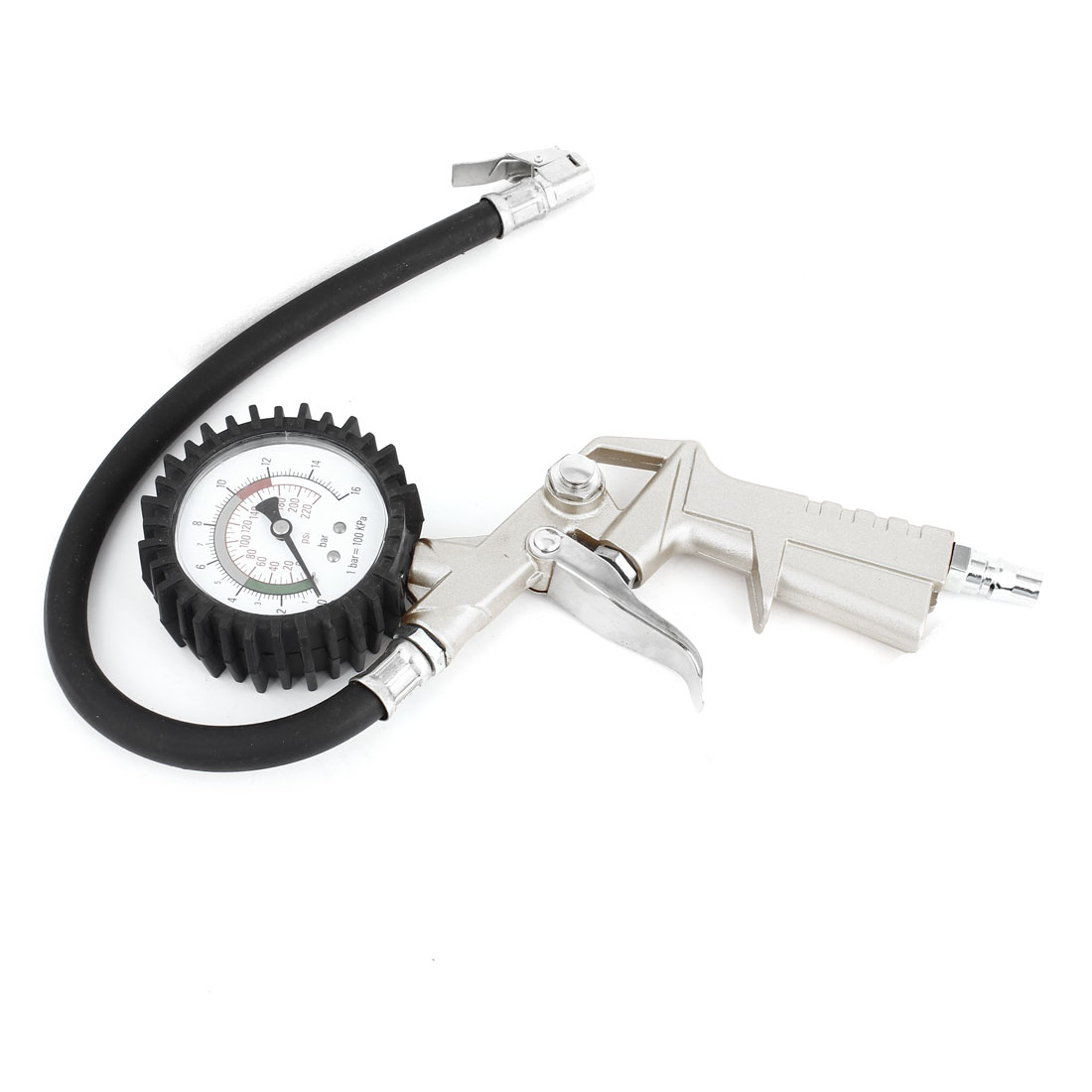 Gold Tone Auto Motorcycle Tire Inflator Gun w Pressure Gauge 0-16 Bar 0-220 Psi
