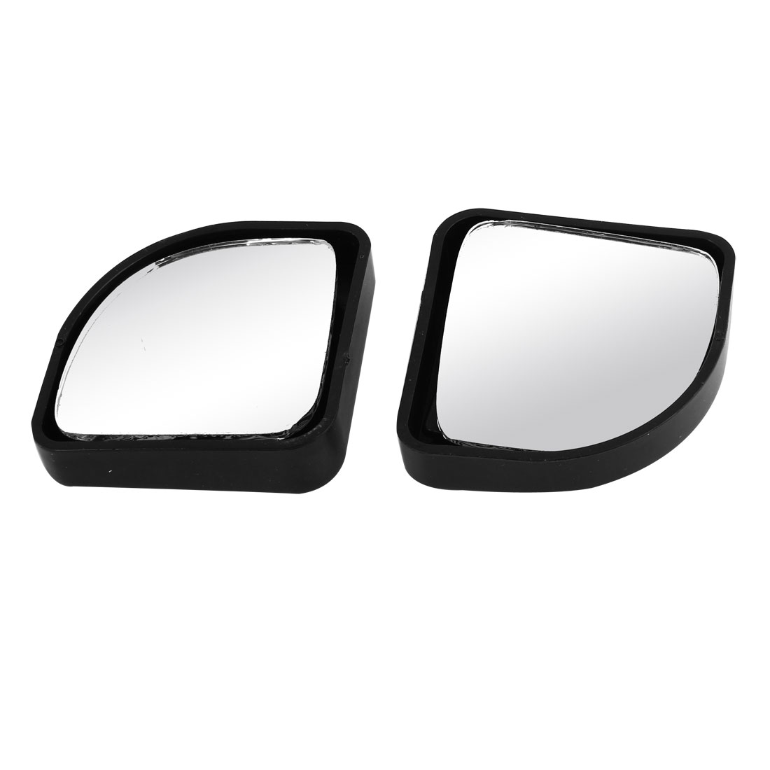 2 Pcs Car Black Plastic Frame Wide Angle Rearview Blind Spot Mirror
