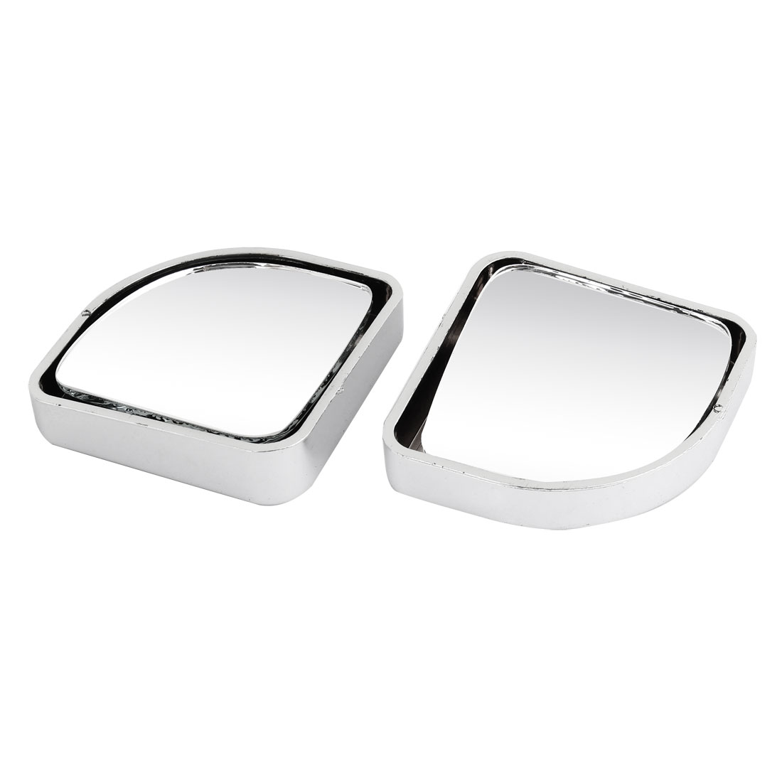 2 Pcs Silver Tone Plastic Shell Car Convex Rear View Blind Spot Mirror