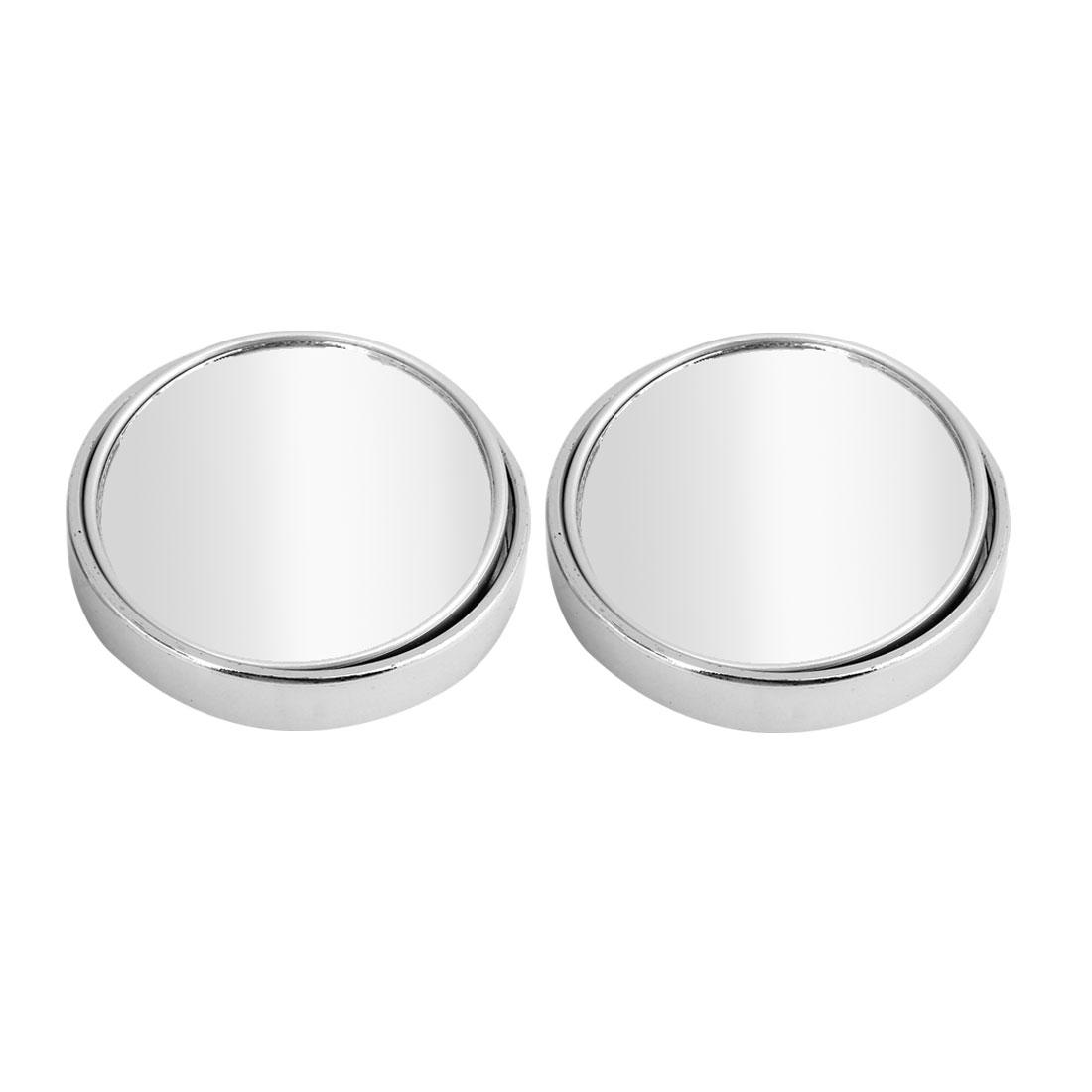 2 Pcs 55cm Dia Adhesive Back Convex Rearmirror Blind Spot Mirror Silver Tone for Car