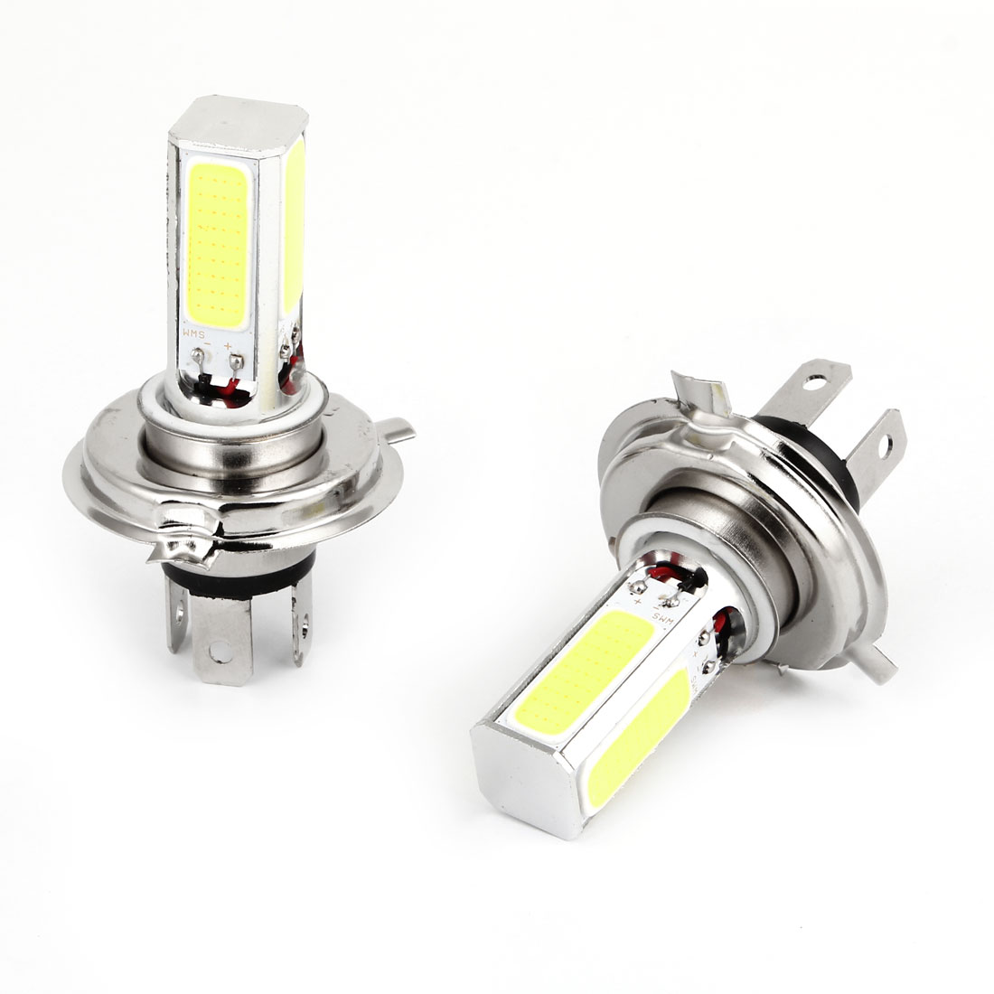 2 Pcs H4 White LED COB Low Beam Fog Lamp Lights Head Bulbs