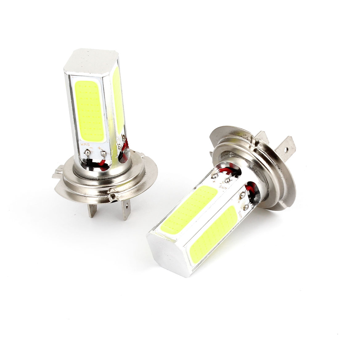 2 Pcs White H7 Socket COB LED Fog Lamp DRL Daytime Running Light Bulb 12V-24V