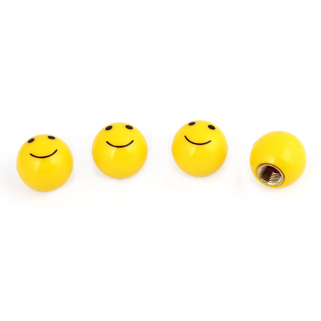 4 Pcs Yellow 8mm Threaded Hole Dia Round Smile Face Design Car Tire Valve Caps