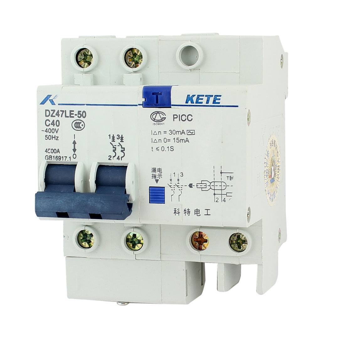 35mm DIN Rail Mounted 2 Poles Residual Current Circuit Breaker AC 400V 40A
