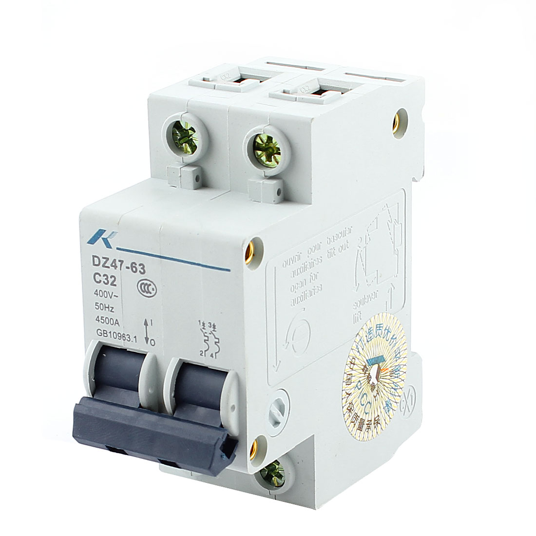 35mm DIN Rail Mounted Double Pole Miniature Circuit Breaker AC 400V 32A