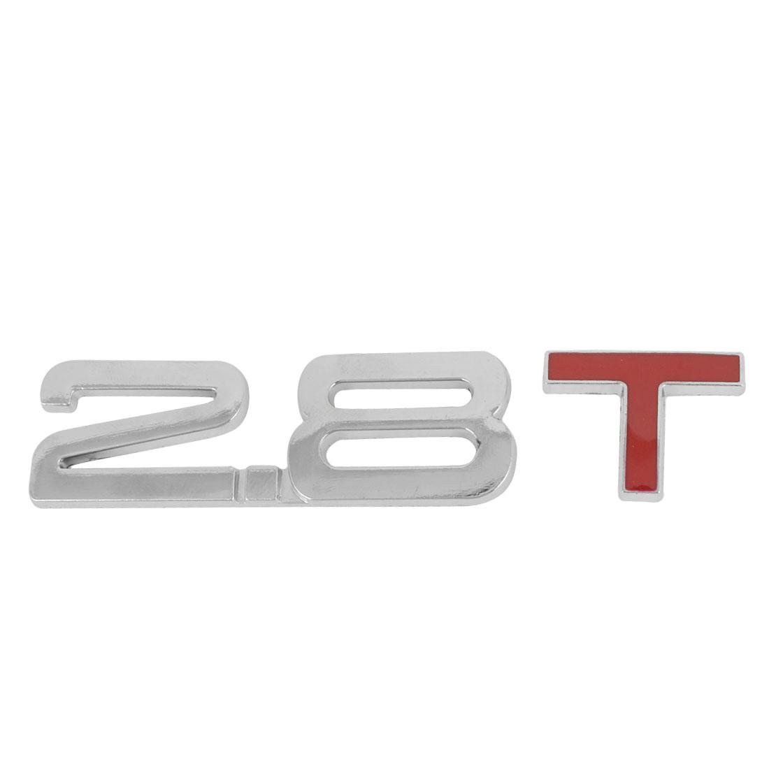 Red Silver Tone Metal 2.8 T Design Car Auto Grille Emblem Badge Ornament