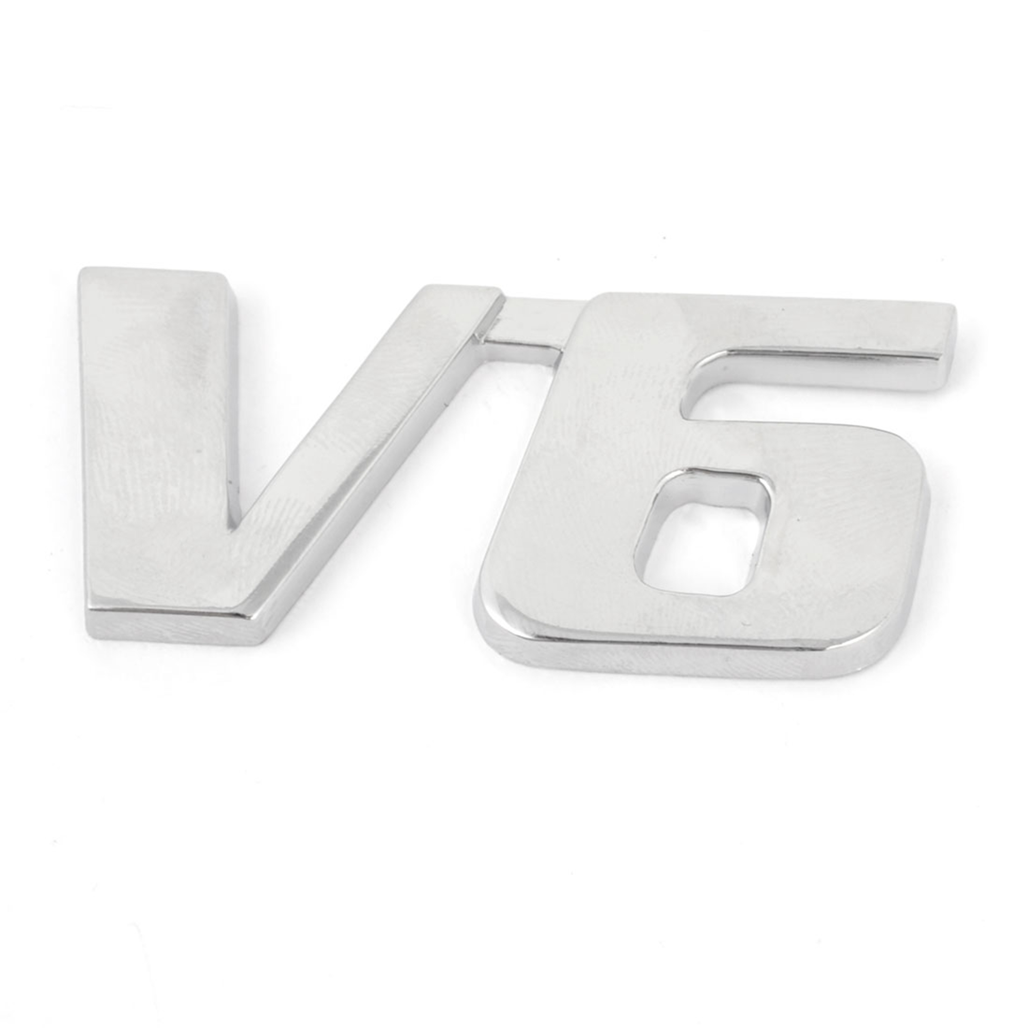 Silver Tone Metal V6 Shape Car Auto Grille Emblem Badge Decortion