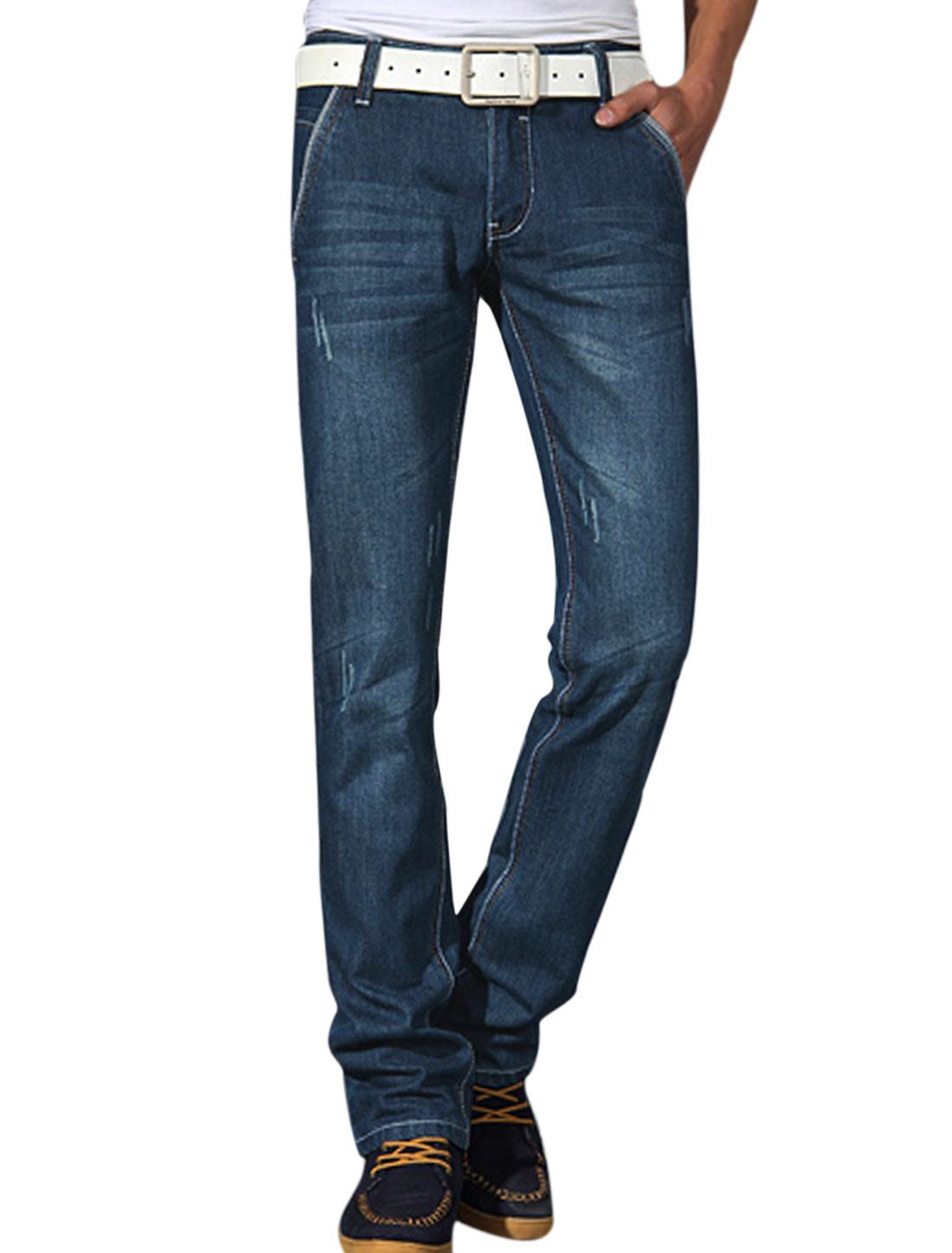 Men NEW Belt Loop Zip Fly One Button Up Leisure Jeans Dark Blue W34