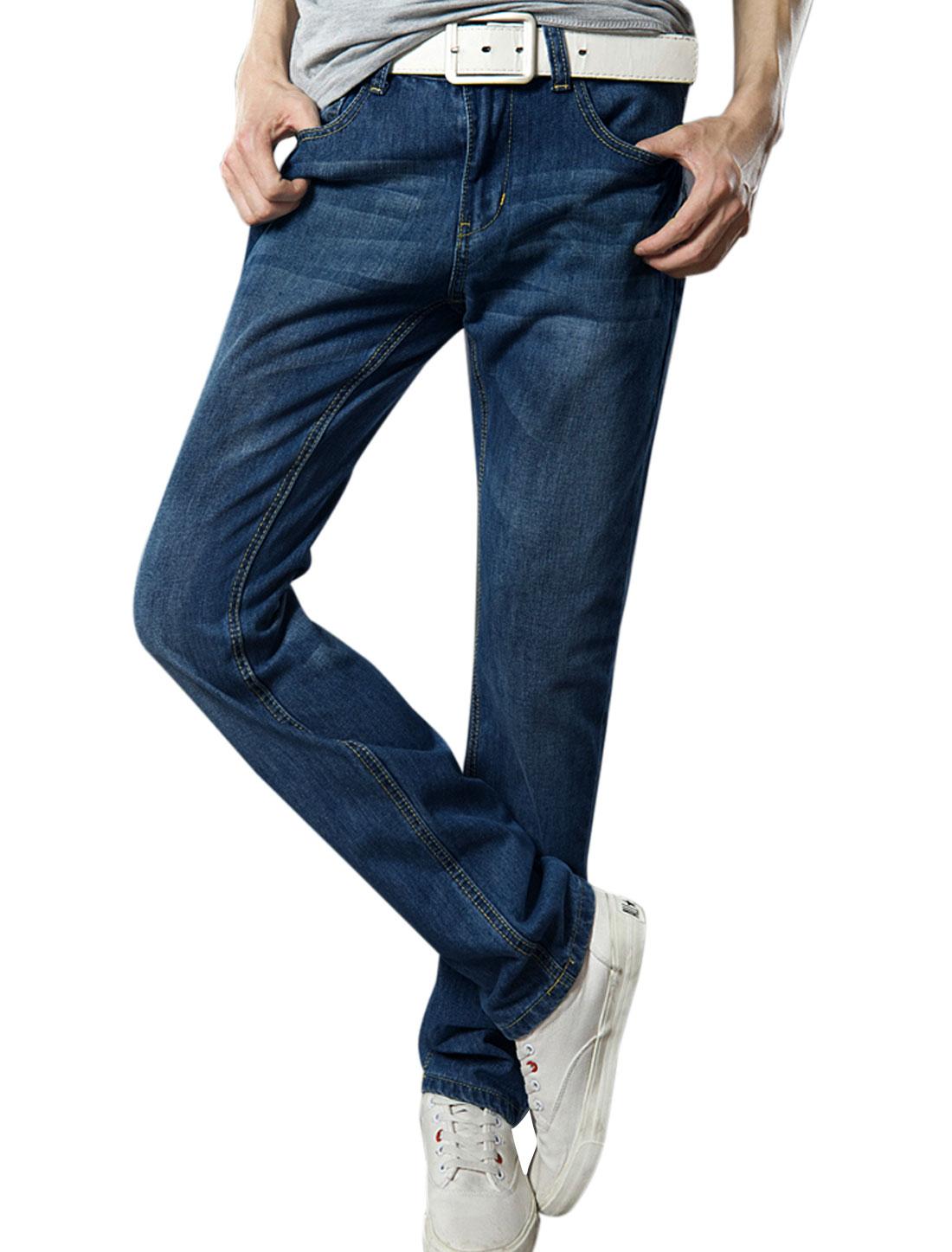 Men Zip Up Double Pockets Back Washed Denim Pants Dark Blue W34