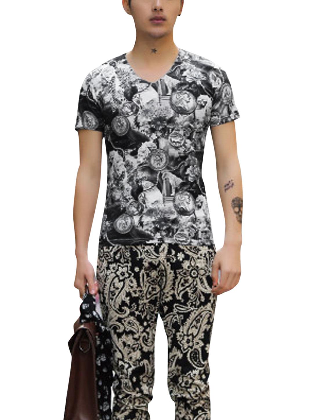 Short Sleeve Flower Pattern Summer Fit T Shirt for Man Black M