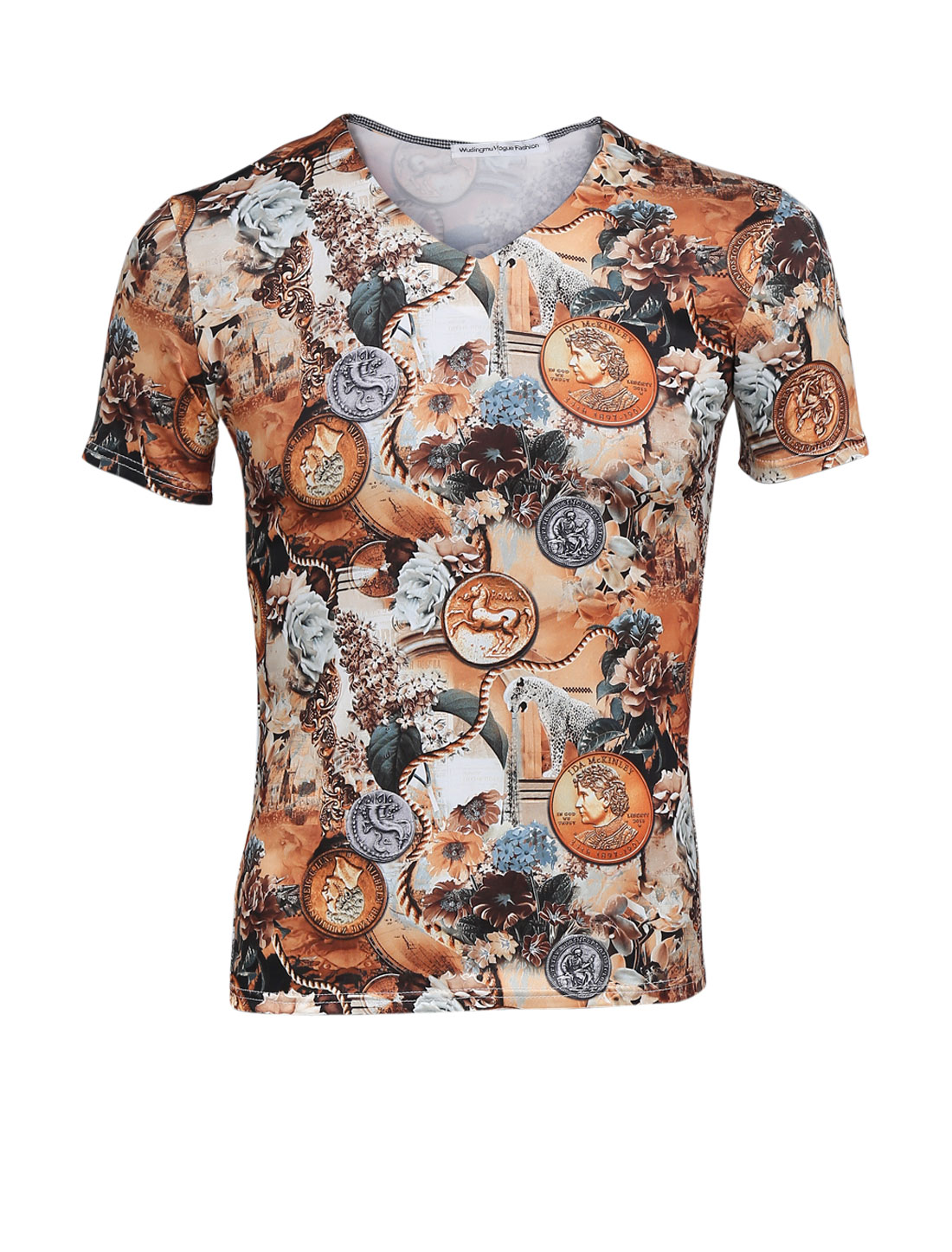 Man V Neck Short Sleeve Floral Coin Print Tee Shirt Brown M