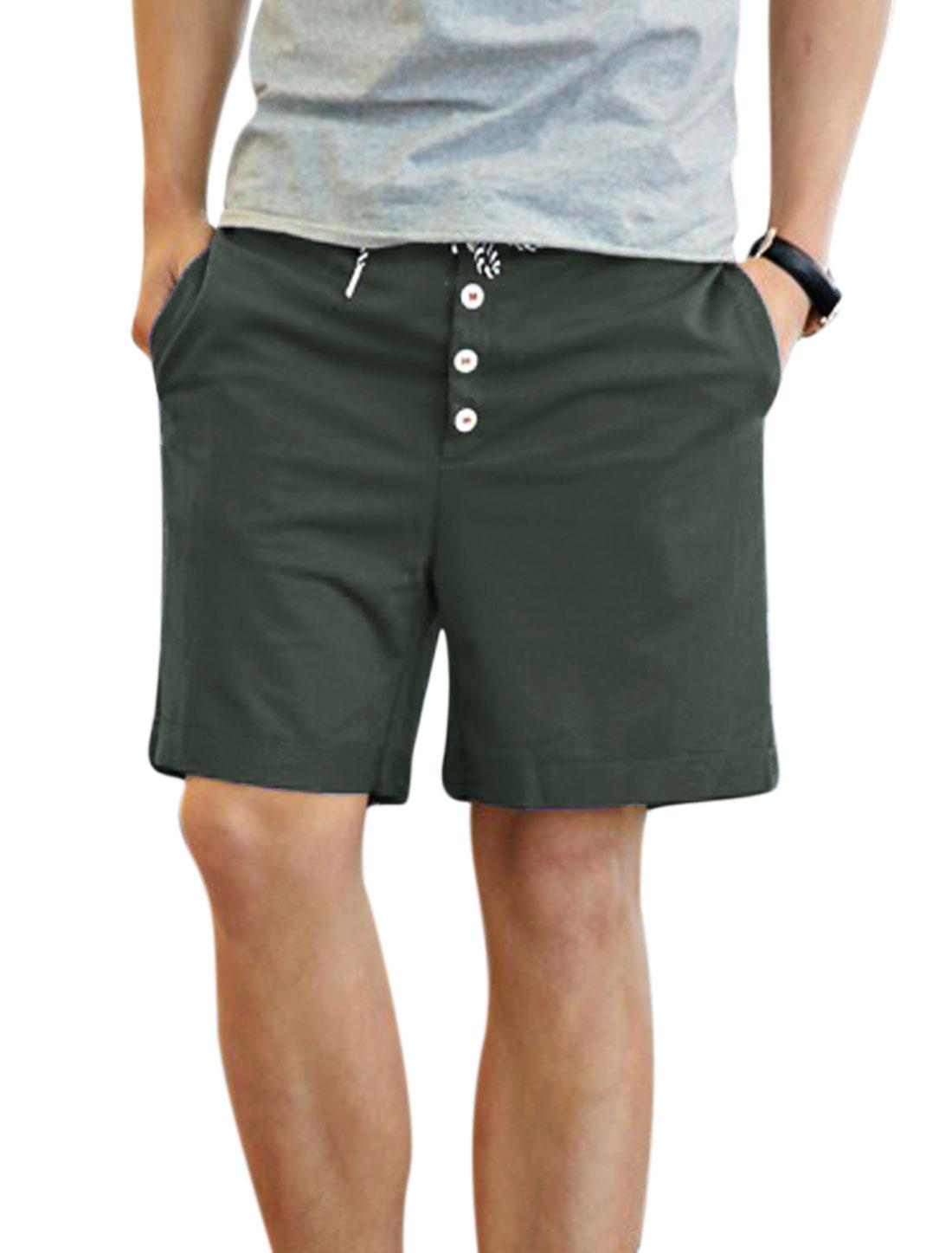 Men Drawstring Stretchy Waist Mid Rise Buttons Decor Short Pants Cool Gray W30