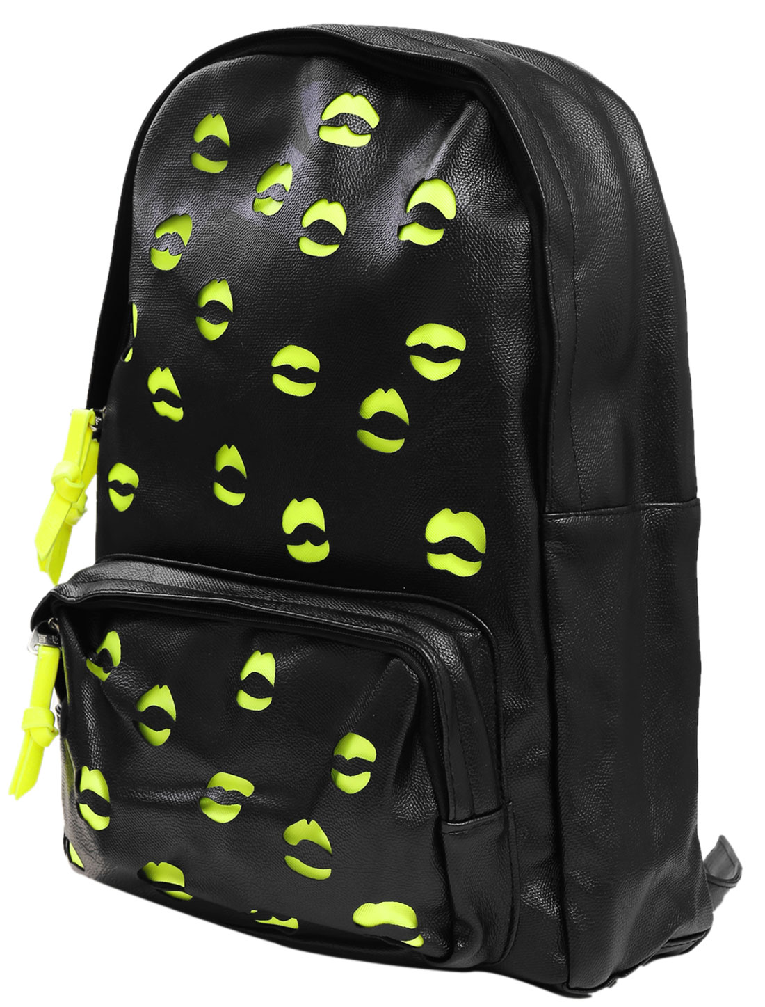 Men Two Compartment Mouth Design Imitation Leather Backpack Black
