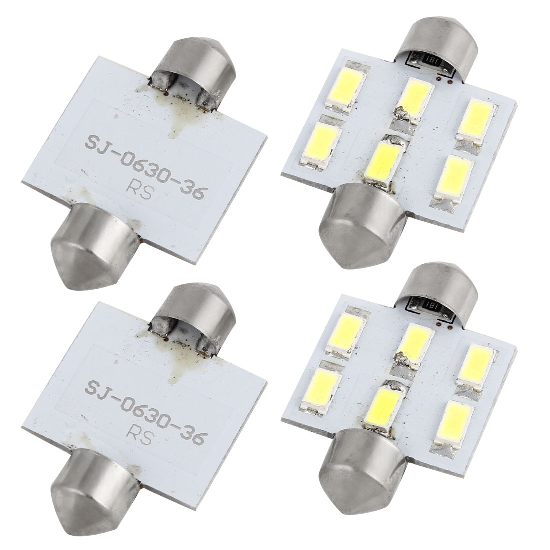 4 Pcs Car Auto 5630 6 SMD Festoon Internal LED Light Dome Lamp 36mm White