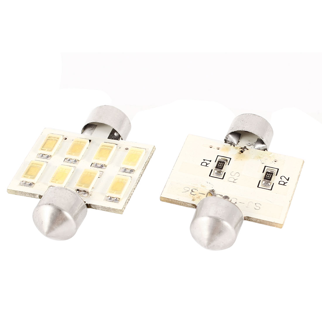 2 Pcs 36mm 5630 SMD 8 LED White Internal Festoon Dome Light Bulbs DE3423 DE3425