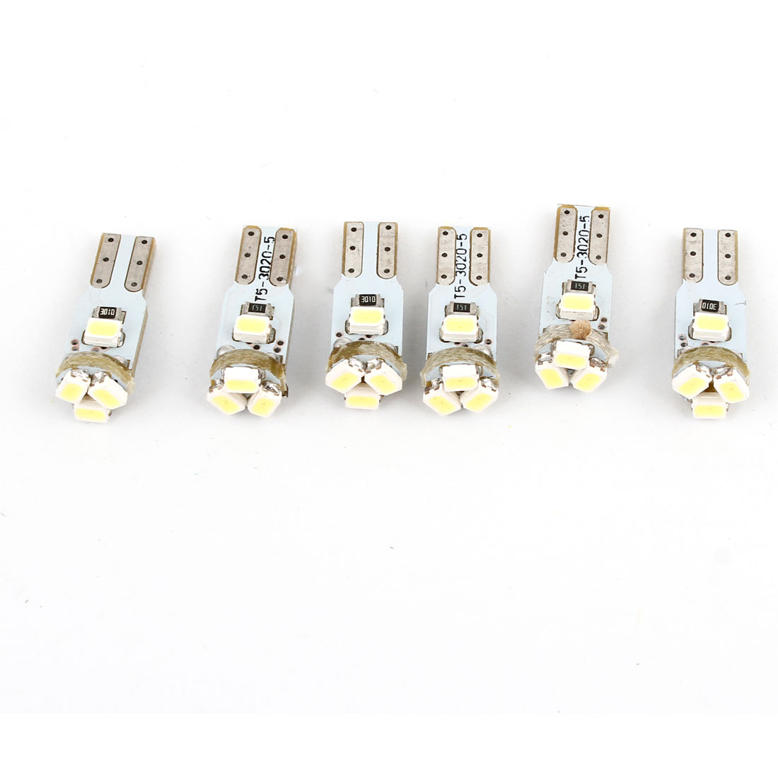 6PCS T5 3020 White 5 LED Dashboard Lamps Side Lights Bulbs for Auto Car Internal