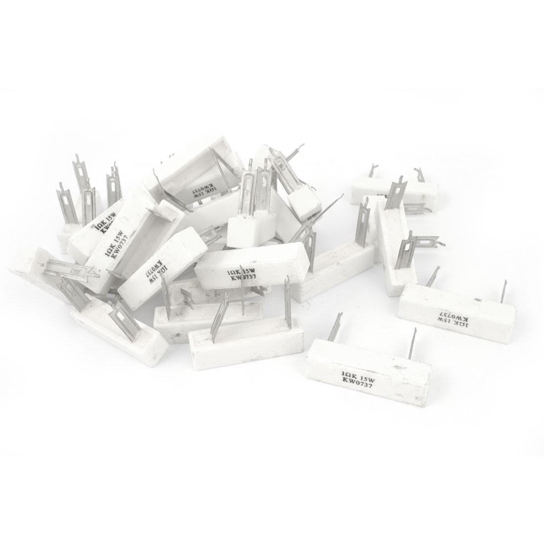 30 Pcs 15W 1 Ohm 2 Pin DIP Mount Vertical Ceramic Cement Power Resistor