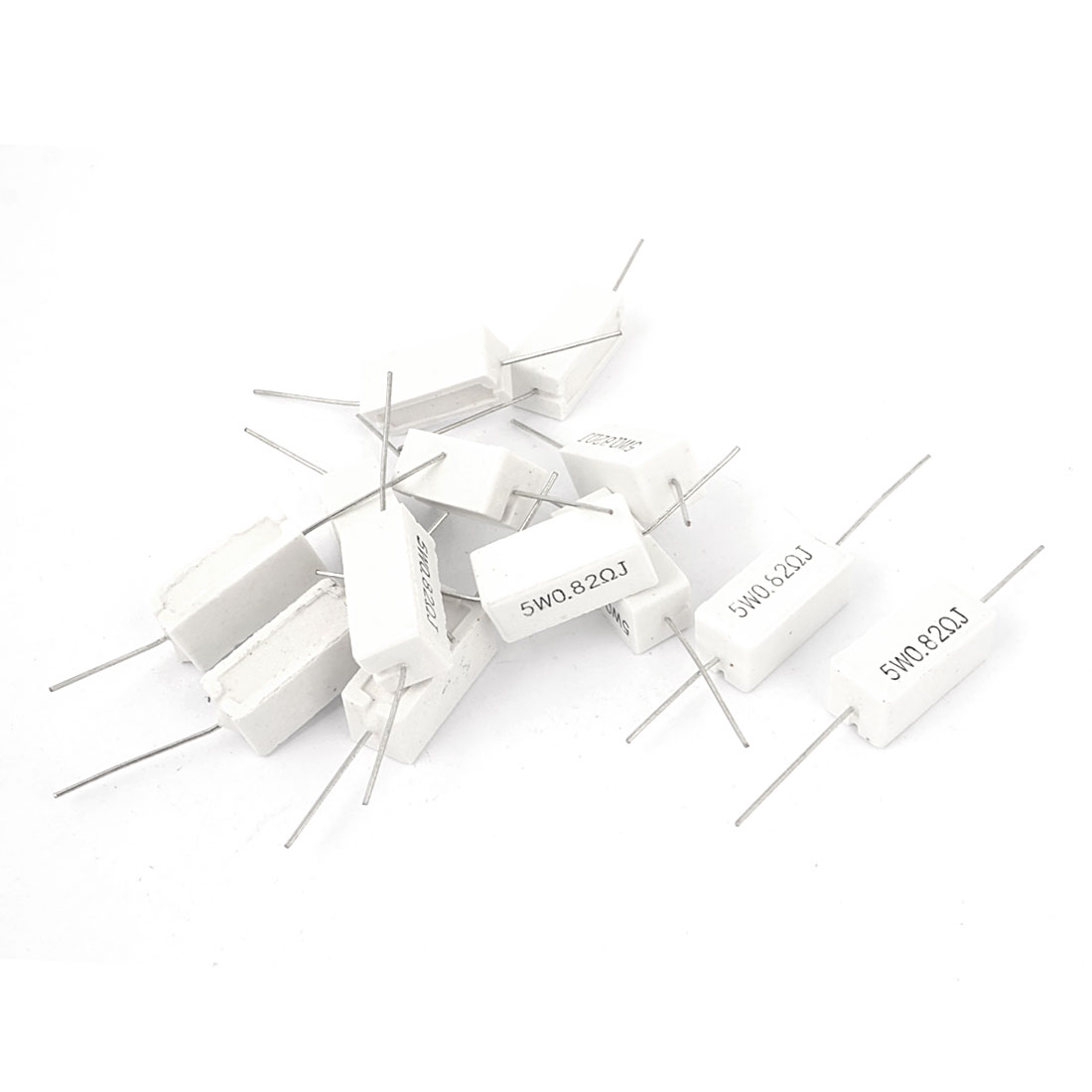 15 Pcs Axial Ceramic Cement Power Resistor 0.82 Ohm 5W 5% Tolerance