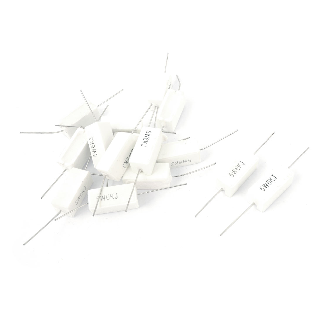15 Pcs Axial Ceramic Cement Power Resistor 6K Ohm 5W 5% Tolerance