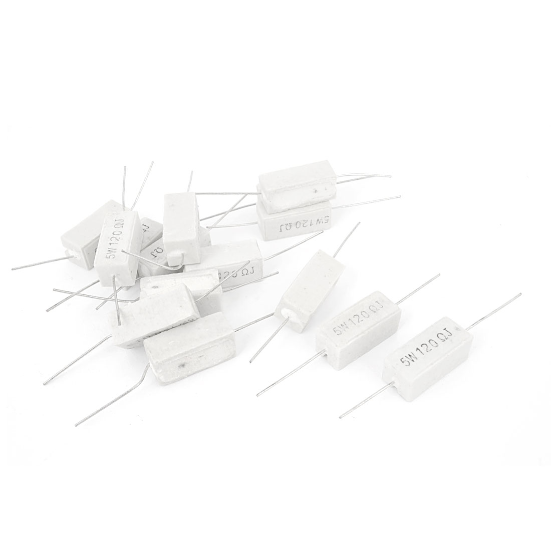 15 Pieces Axial Ceramic Cement Power Resistor 120 Ohm 5W 5% Tolerance