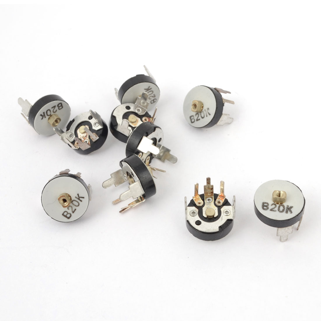 10 Pieces 12.5mm Dia 3 Terminal Adjustable Potentiometer 20K Ohm